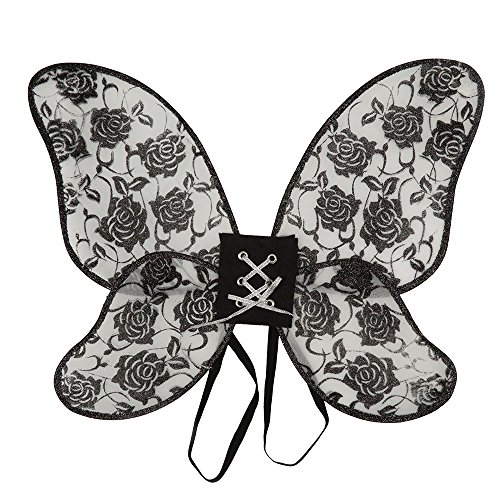 5Rose Flügel Damen Glitter, schwarz, one size (Fairy Lace Wings)
