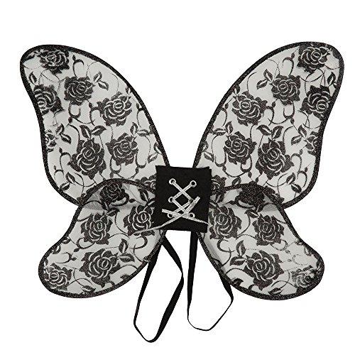 5Rose Flügel Damen Glitter, schwarz, one size (Glitter Queen Kostüm)