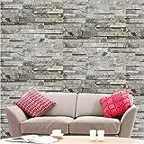 Hyfive - Wallpaper 3D Effetto Mattone - Naturale - Grigio Colore Pietra - 10 x 0