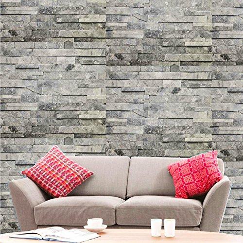 Hyfive - Fondo de Pantalla 3D Efecto ladrillo - Natural - Color de Piedra Gris - 10 x 0,53 m