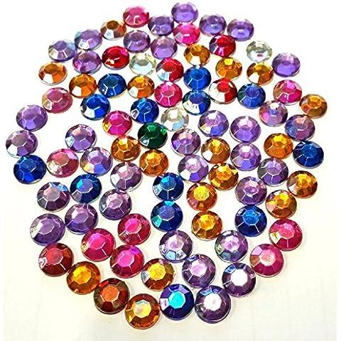 100 x redondo con piedras brillantes adornos plano con brillantes de diseño de varios colores