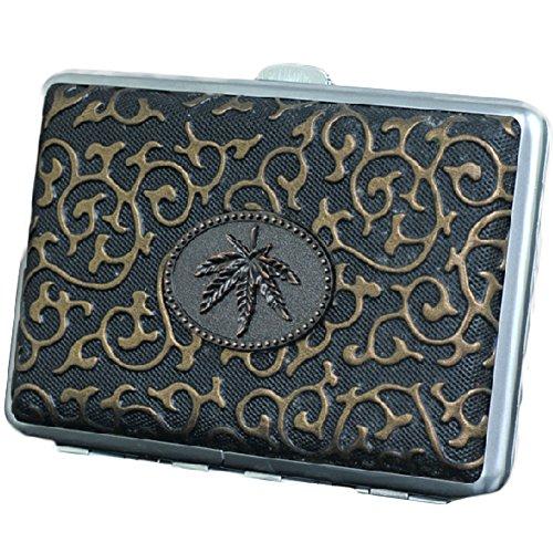 Bronze feuille de chanvre étui à cigarettes Durable Exquisite Cig Holder Box