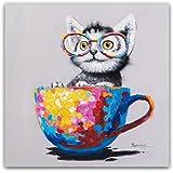 dayanzai Mignon Animal Toile Imprimer Lunettes De Vue Chat Peinture À l'huile Pop Art Affiches sur Le Mur Salon Décor Affiche