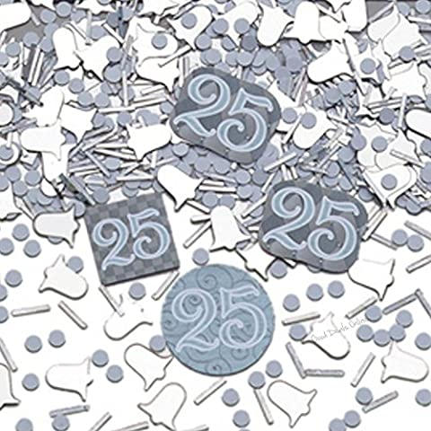 25th Silver Wedding Anniversary Confetti for a Classy Decoration, Celebration,