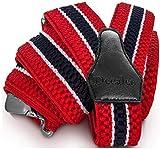 Decalen Hosenträger für Herren breit extra starken 4 cm mit 3er Clips Y Form Lang für Männer und Damen Eine Größe Passt Alle Verschiedenen Farben (Rot Weiß Marineblau)