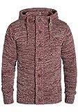 !Solid Pierrot Herren Strickjacke Cardigan Grobstrick Winter Pullover mit Kapuze und Knopfleiste, Größe:L, Farbe:Wine Red Melange (8985)