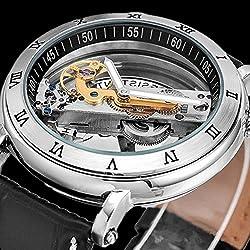 SSITG Light Skeleton Automatic Mechanical Wrist Watch Leather Strap Watch