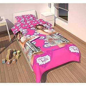Parure linge de lit Housse de couette + 1 Taie d oreiller Violetta Disney