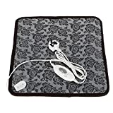 Ksun Pet Heated Mat Warmer Waterproof Anti Chew Cord Low Voltage Cat Dog Electrically Heated Pet Pad (45 cmx 45cm+UK plug)