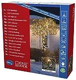 Konstsmide 3613-800 Micro LED Lichterkette/für Außen (IP44 / VDE geprüft / 24V Außentrafo / 200 bernsteinfarbene Dioden/schwarzes Kabel