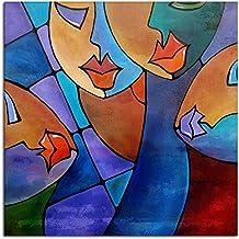 IPLST@ Astratta moderna del fumetto Ritratto donna labbra sexy pittura a olio su tela di canapa, arte della decorazione della casa parete dipinto a mano-24x24inch (Nessuna cornice, senza barella)