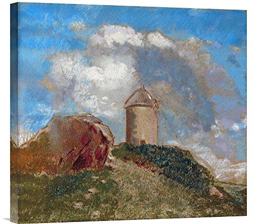 Global Galerie Budget gcs-265398-55,9-360,7cm Lon Redon Le Moulin A Vent Galerie Wrap Giclée-Kunstdruck auf Leinwand Art Wand -