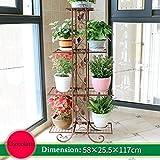 WYDM 4 strati fiore cornice in ferro battuto in metallo verticale fiore stand 4 strati vaso di piante cremagliera cremagliera soggiorno decorazione del giardino cornice nera 58x25x118 cm