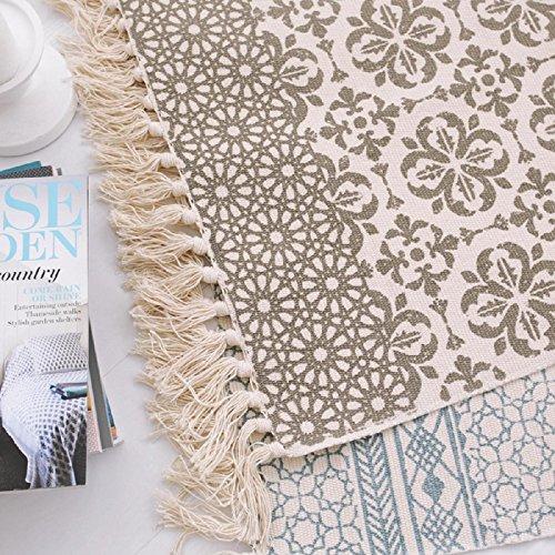 KOOCO Kilim marrón Floral 100% Algodón Salón alfombras