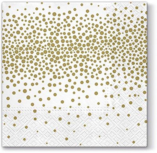 20 Servietten Konfetti gold / Muster / neutral / zeitlos 33x33cm