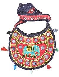 IndianShelf Handmade Decorative Navy Blue Red Embroidered Cotton Sling Bag Online