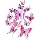 LERT 3D dubbele vleugels kunstmatige vlinder, bruiloft/feest/woondecoratie, ambachtelijke vlinder, vlinder muursticker, 12 st
