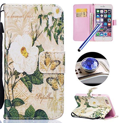 Etsue Handytasche für iPhone 6S/iPhone 6 (4.7 Zoll) Braun, Brieftasche Hülle für iPhone 6S/iPhone 6 (4.7 Zoll) Schmetterling Lederhülle Blume Handyhülle Flip Hülle Leder Schutzhülle Vintage Wallet Cas Weiß Blume,Schmetterling