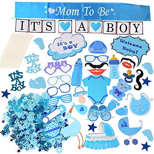 Babyparty Jungen Deko Baby Shower Party Boy Taufe Dusche für Jungs Girlande It's a Boy Banner Bunting Deko Mum to Be Schärpe Blau Konfetti Babyparty Fotorequisiten Masken Photo Booth Props (Blau)