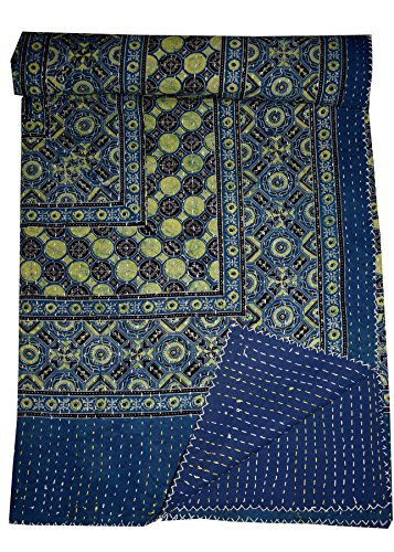 Tribal asian textiles indaco stampata a mano kantha copriletto indiano trapunta matrimoniale reversibile ikat bedding