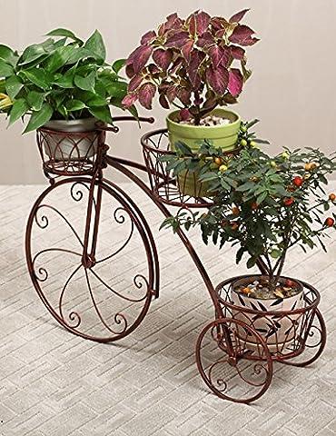 LB Étagère à fleurs Fer à repasser Type de plancher 3 couches Pots de fleurs à vélos Plantes en pot intérieures et extérieures de style européen Étagère de pot de montage ( couleur : Brass , taille : 78cm*24cm*55cm )