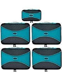 PRO Packing Cubes | Ensemble économique de sacs de rangement de voyage 5 pièces | Sacs économisant 30% de place | Organiseurs de bagage ultralégers | Idéal pour les sacs de voyage & valises de cabine