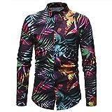 Camicia Floreale Hawaiana Uomo Maniche Lunghe LandFox Slim Fit Camicie Casual da Uomo Manica Lunga Stampa Spiaggia...