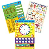 French Basics School Poster Set - Contains 3 Posters French Calendar & Numbers, Time & First Words