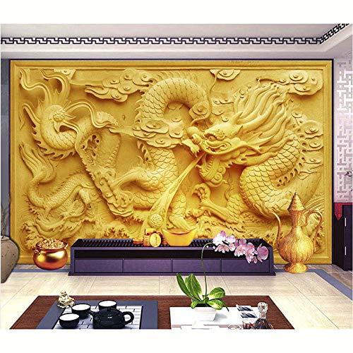 BZDHWWH Fondo De Pantalla Personalizado 3D Wallpaper Mural Hd Phototv Fondo Papel Pintado En Relieve Golden Dragon Relief Para Paredes Nuevo,140Cm (W) X 70.5Cm (H)