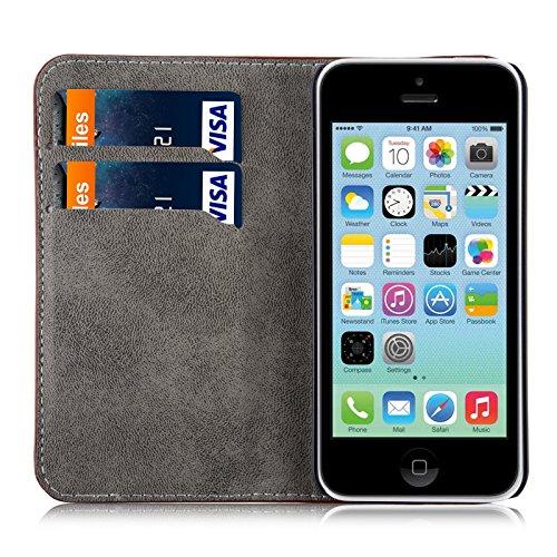 JAMMYLIZARD | Housse iPhone 6 6s écran 4.7 pouces étui portefeuille à rabat stand vidéo range cartes aspect cuir, Bleu marine MARRON