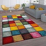 Paco Home Kurzflor Wohnzimmer Teppich Bunt Karo Design Vierecke Mehrfarbig Farbenfroh, Grösse:80x150 cm