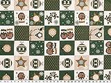 Patch Deko-Weihnachtsstoff, Baumwolldruck, grün-weiß,