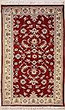 RugsTC 89 x 173 Pak Persan Tapis avec Pile de Laine - Design Floral | 100% Noué à la Main Authentique en Rouge, Blanc, Couleurs Brun rougeâtre | catégorie 91 x 152...