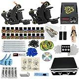 LVYY Mini Kits De Tatouage Débutants 2 Mitrailleuses Pro 10 Aiguilles De Tatouage Pointes D'aiguille De Pied d'alimentation Grips Conseils 20 Couleurs De Base Encre De Tatouage