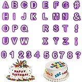 Guanici 40 Pièces Fondant Gâteau Cutter Moule à Sucre Moule à gâteau numéro lettre bricolage Emporte-pièce alphabet pour la d