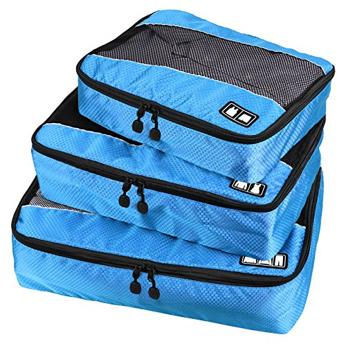 Travel Packing Organizers - Clothes Cubes Shoe Bags Laundry Pouches For Suitcase Luggage, Storage Organizer 3 Set Color Blue
