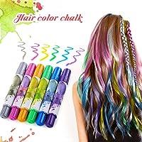 Color de pelo tiza Luckyfine, 6 colores no tóxico, tiza segura para el cabello en cualquier edad, color Shimmer temporal tinte para el cabello, fiesta Cosplay DIY, regalos para el Festival de cumpleaños, colores para todo el cabello