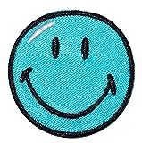 XL Bügelbild - Smiley blau - 12,5 cm * 12,5 cm - Aufnäher gewebter Flicken / Applikation - Gesichter Smile Emotion Smileys / lachend grinsend - bunt World - Mädchen Jungen Kinder Erwachsene - Smilies