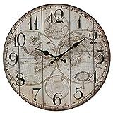 Hometime Wall Clock - Vintage Style Map Design (30cm)