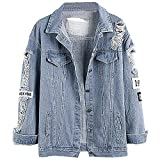 Kinsmirat Damen Jeansjacke mit Patches Knopfverschluss Cut-outs Blau Denim Jacket Blouson (EU 34-36/S)