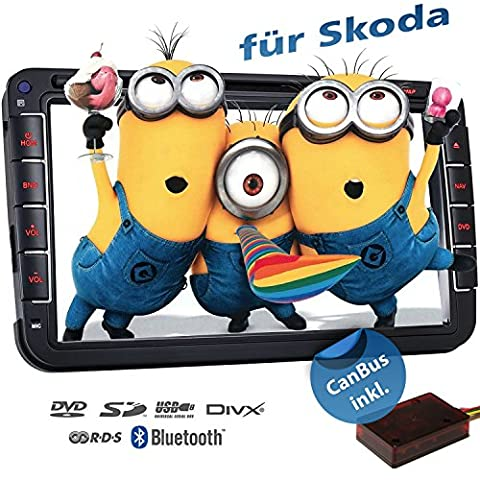 2DIN Autoradio CREATONE VW8000 mit GPS Navigation (Europa), Bluetooth, 8 Zoll (20cm) Touchscreen, DVD-Player und USB/SD-Funktion für SKODA Fabia 2, Roomster, Yeti, Octavia 2, Superb, Rapid,