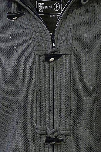 Hommes Dissident Falkirk Veste Capuche Designer Doublé Sherpa Fermeture Éclair Toggle Cardigan Gris charbon