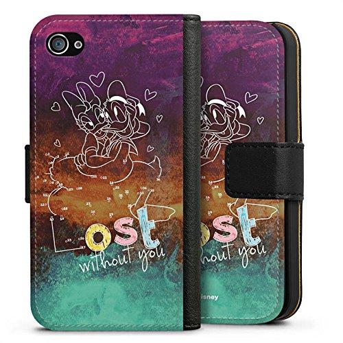 Apple iPhone X Silikon Hülle Case Schutzhülle Disney Daisy und Donald Duck Fanartikel Merchandise Sideflip Tasche schwarz