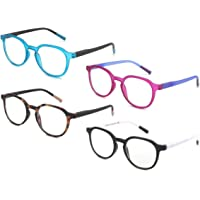 ZENOTTIC Lot de 4 lunettes de lecture rondes bloquant la lumière bleue, lecteurs anti-maux de tête/éblouissement/fatigue…