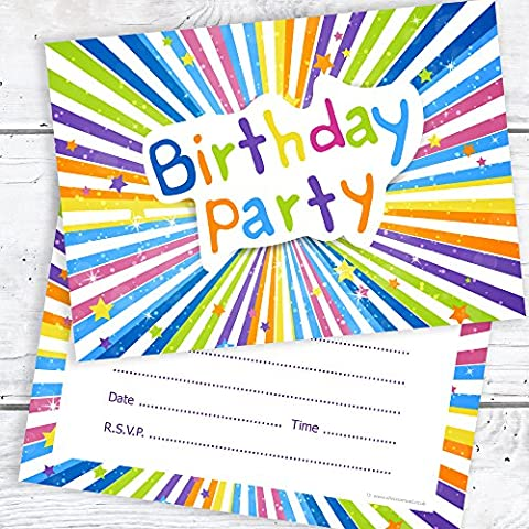 Children's Birthday Party Invitations - Kids Ready to Write Party Invites - A6 Postcard Size with envelopes (Pack of