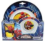 Fun House 005488 Marvel Spiderman Ensemble Repas Contenant 1 Verre, 1 Assiette et 1 Bol pour Enfant Polypropylène Rouge 26.5x8.5x24.5 cm