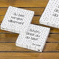 Cocktailserviet 20tlg 2s 3lg weiss Papier