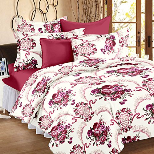 Bedspun 152 TC Cotton Double Bedsheets with 2 Pillow Covers - Floral, Velvet and Red