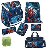 Familando Spiderman Schulranzen-Set 7tlg. Scooli Campus Up mit Federmappe gefüllt, Sporttasche und Regenschutz Marvel