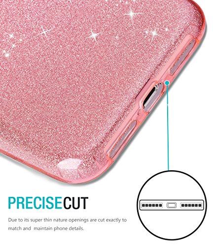 Coque iPhone X, TOZO Housse Brillant [Cristal Bling] Ultra Mince Sparkle Premium 3 Couches Hybride TPU Soft grip Protective Case Cover iPhone 10 / X [Rose Dégradé] Hybrid SHINY Pink
